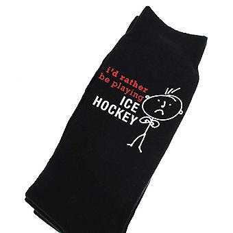 Mens Rather Be Playing Ice Hockey Black Calf Socks