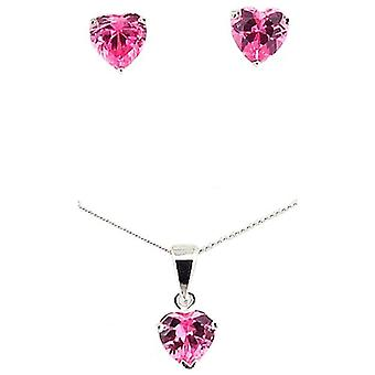 TOC Sterling Silver Pink Rhinestone Heart Earrings & Pendant Necklace 18