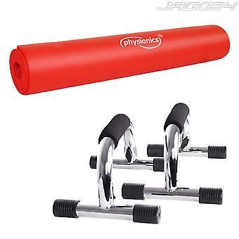 Kit fitness poignées de pompe push up + tapis de fitness 190 x 1 cm 0701124