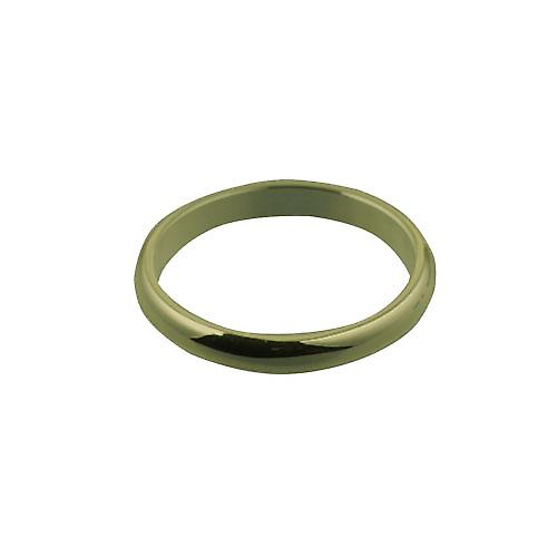 9ct Gold 3mm plain D shaped Wedding Ring Size T