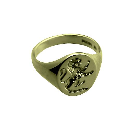 9ct Gold 25x12mm gents seal engraved Lion Rampant Signet Ring Size U