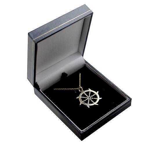 9ct Gold 17mm solid Ships Wheel Pendant with a cable Chain 16 inches Only Suitable for Children