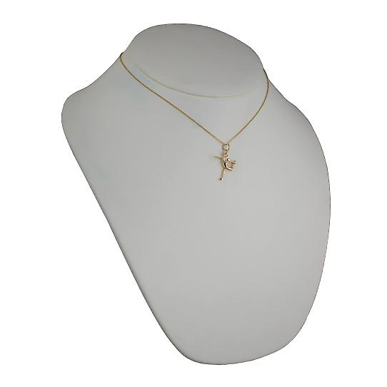 9ct Gold 22x20mm Yoga Position Pendant with Cable chain