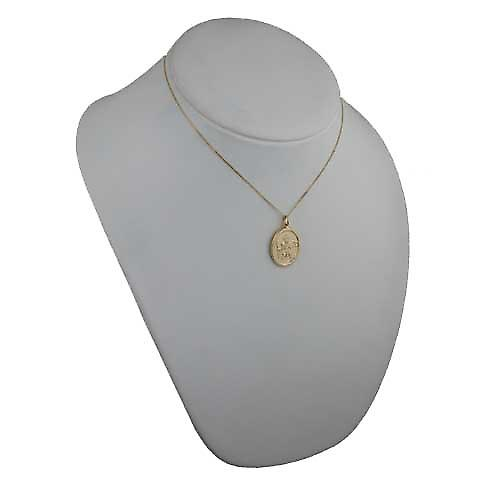 18ct Gold 30x21mm oval plain St Christopher Pendant with a curb Chain 16 inches Only Suitable for Children