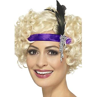 Womens Purple Satin 1920s Charleston Headband Fancy Dress Accessory