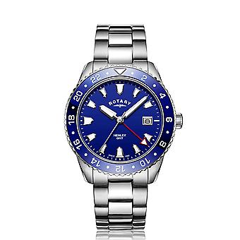Rotary GMT Henley Blue Dial Stainless Steel Mens Watch GB05108/05 42mm