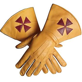 Knight Templar Yellow Gauntlets Red Cross Soft Leather Gloves