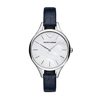 Emporio Armani Ar11090 Blue Leather Strap Automatic Ladies Watch
