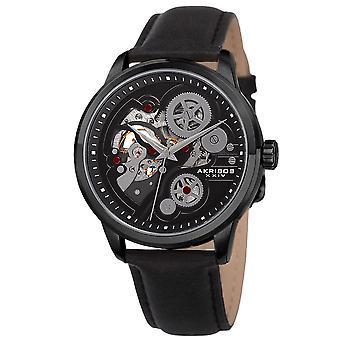 Akribos XXIV Men's Skeleton Automatic Movement Leather Black Strap Watch AK855BK