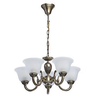 Glasberg - laiton Antique torsadées cinq pendentif lumineux avec des nuances de verre blanc 450016305