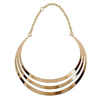 Damer kvinder & #039; s overdrevet 3 lag semi-cirkel kæde sætning choker halskæde
