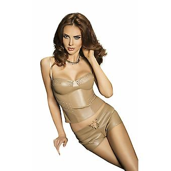 Passion Lingerie Verona Grey Faux Leather Bustier & Shorts Set