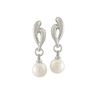Eternal Collection Glory Silver Tone Pearl Drop Pierced Earrings