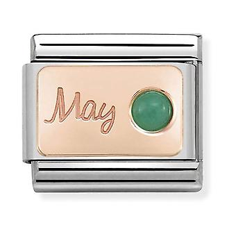 Nomination Classic May Birthstone Steel, Emerald and 9k Rose Gold Link Charm 430508/05