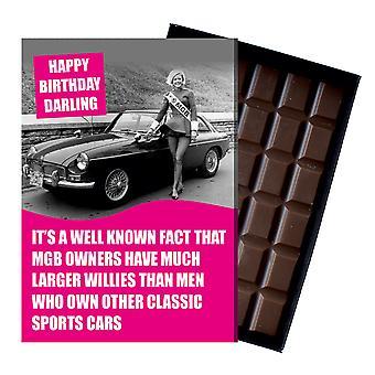 Grappige gift van de verjaardag voor MGB GT Roadster MG eigenaren klassieke auto chocolade wenskaart CDL226