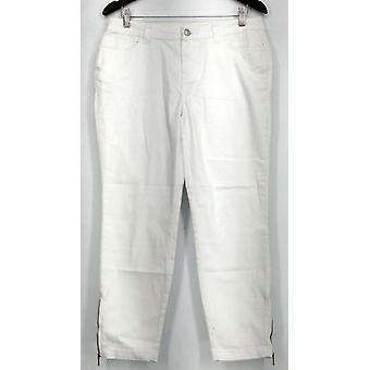 Kate et Mallory Jeans 5 Pocket Skinny w/ Ankle Zipper et Back White A428724