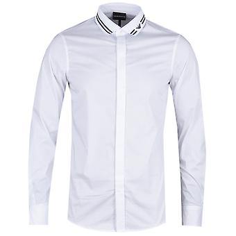 Emporio Armani Eagle Stripe White Slim Fit Shirt