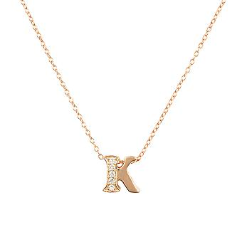 White Diamond Initial Pendant Necklace Letter Name Pink Rose Gold Personalised K