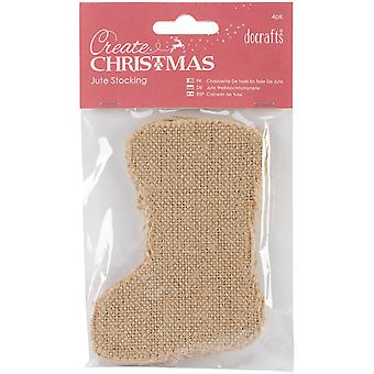 Papermania Create Christmas Jute Stocking 4/Pkg-Natural PM174902