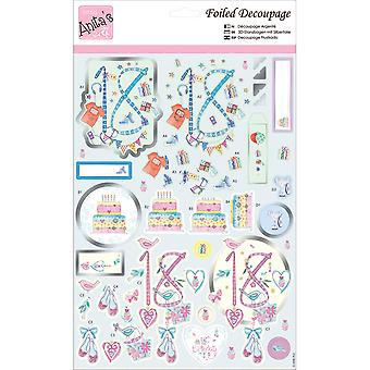 Anita's A4 Foiled Decoupage Sheet-18th Birthday A169610