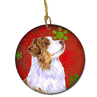 Australian Shepherd Red Snowflake Holiday Christmas Ceramic Ornament LH9318