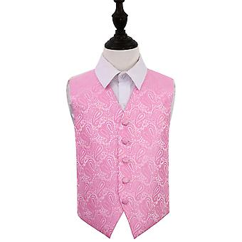 Boy's Baby Pink Paisley Patterned Wedding Waistcoat
