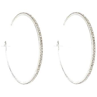 Classic Silver  and  Diamante Crystal Fashion Hoop Earrings 5.5 cms