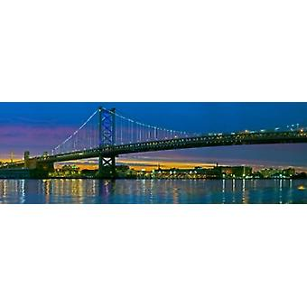 Suspension bridge across a river Ben Franklin Bridge River Delaware Philadelphia Pennsylvania USA Poster Print