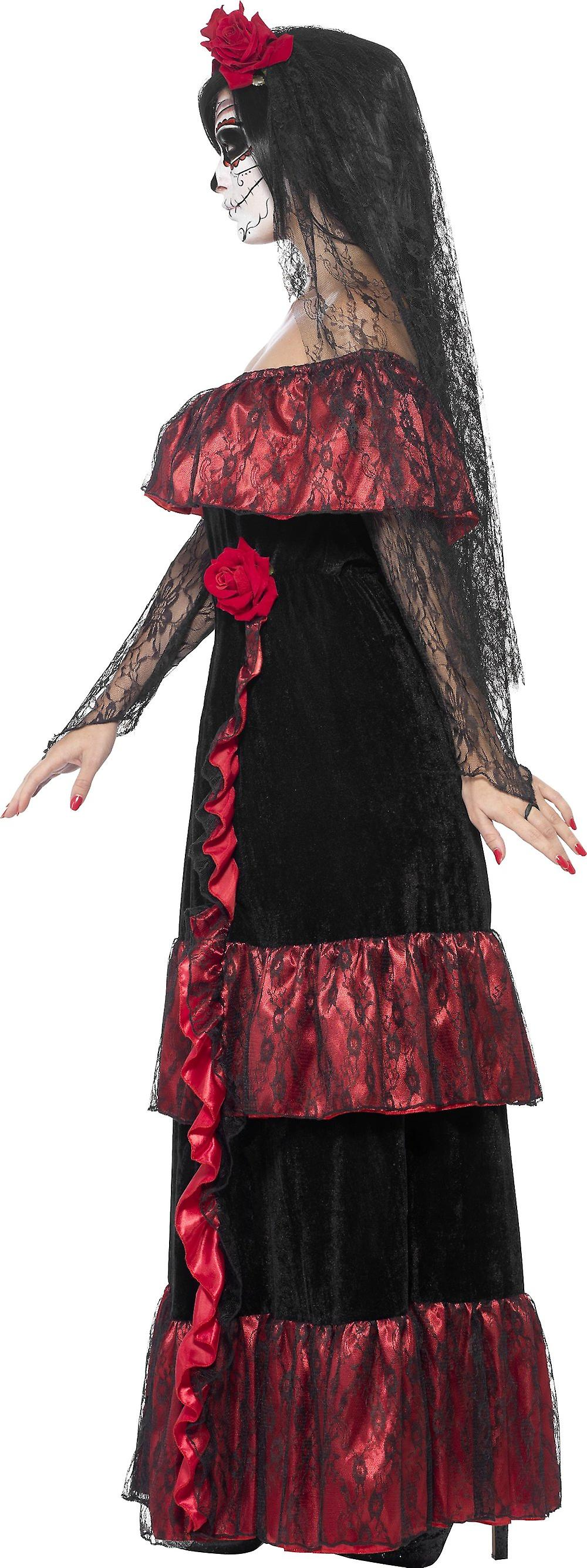 Smiffys Day Of The Dead Bride Halloween Fancy Dress Womens Costume Black Red