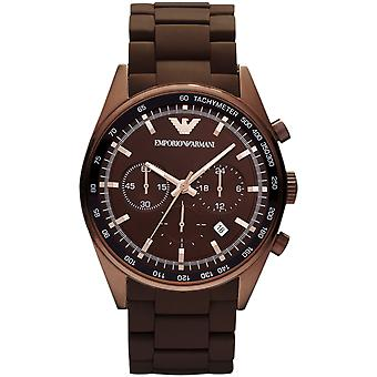 Emporio Armani AR5982 Tazio Brown Sports Silicone Quartz Chronograph XL Watch