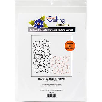 Quilting Creations Printed Tear Away Quilting Paper 4/Pkg-Flowers And Fronds-Corner UTA1019
