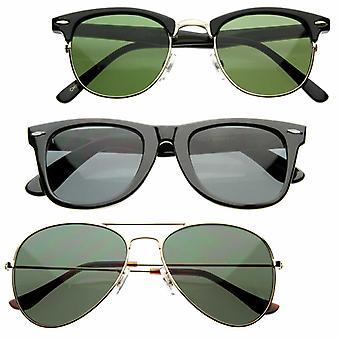 Retro Movie Classic 80s Horn Rimmed Aviator Half Frame Sunglasses
