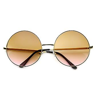 Women's Metal Oversized Two-Toned Color Tinted Round Sunglasses