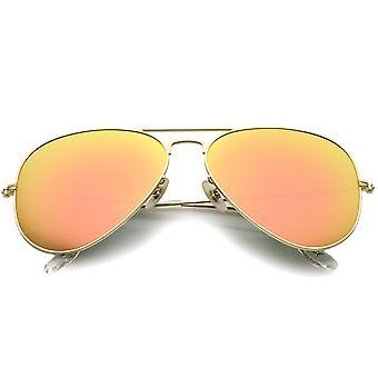 Premium Classic store mat metalramme spejl glas linse Aviator solbriller 61mm