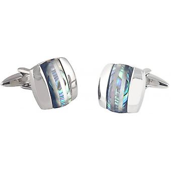 David Van Hagen Curved Square Abalone and Cats Eye Stripe Cufflinks - Silver/Green