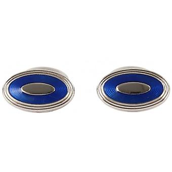 David Aster Oval Enamel Cufflinks - Electric Blue