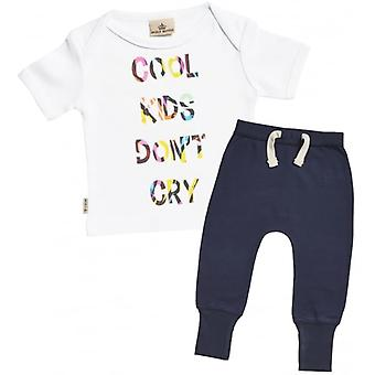 Verwöhnte faulen coole Kids Don't Cry Baby T-Shirt & Navy Jogger Outfit Set
