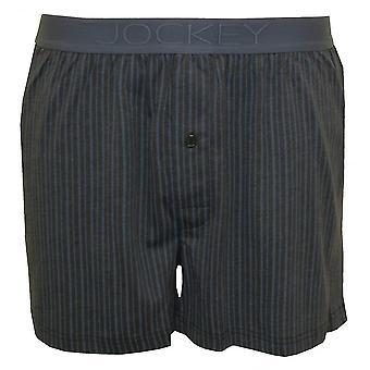 Jockey Striped Cotton Modal Jersey Boxer Short, Grey