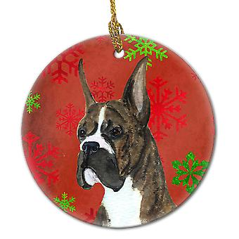 Boxer Red Snowflakes Holiday Christmas Ceramic Ornament SS4715