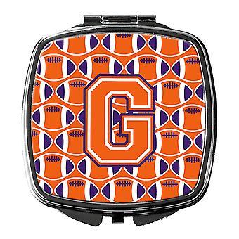 Letter G Football Orange, White and Regalia Compact Mirror
