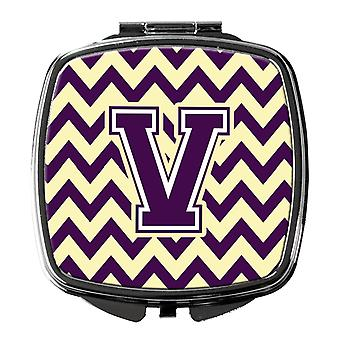 Carolines Treasures  CJ1058-VSCM Letter V Chevron Purple and Gold Compact Mirror