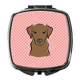 Checkerboard Pink Chocolate Labrador Compact Mirror