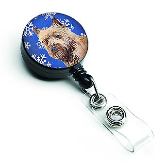 Cairn Terrier Winter Snowflakes Holiday Retractable Badge Reel