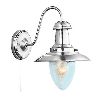 Fisherman Satin Silver Wall Light With Seeded Glass - Searchlight 5331-1SS