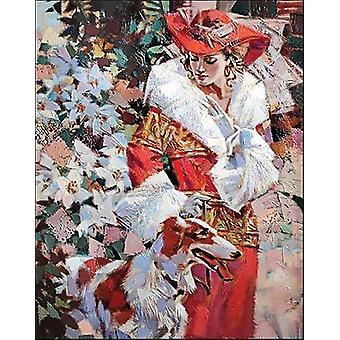 Collection D'art Diamond Embroidery/Printed/Gem Kit 48x38cm-Lady With A Dog DE065