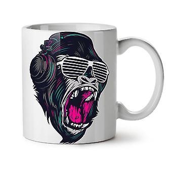 Monkey DJ Beat NEW White Tea Coffee Ceramic Mug 11 oz   Wellcoda
