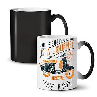 Life Is Journey NEW Black Colour Changing Tea Coffee Ceramic Mug 11 oz   Wellcoda