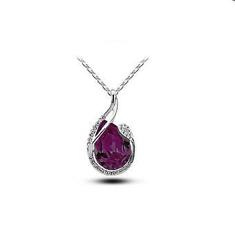 Womens grote donkere paarse Teardrop hanger ketting zilver