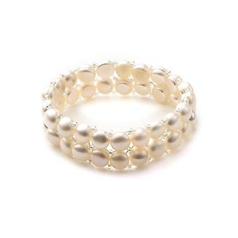 Bracelet Stretch 2 rangs Femme en Perles de culture Blanc
