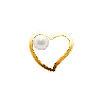 Pendant heart and Perle de Culture of water soft white and yellow gold 750/1000